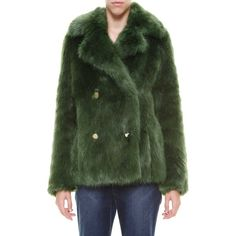 MICHAEL MICHAEL KORS Ecologic fur coat ($495) ❤ liked on Polyvore featuring outerwear, coats, green, green fur coat, green coat, michael michael kors, fur coat and michael michael kors coat
