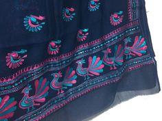 Peacock Motif Hand Embroidered Phulkari Saree