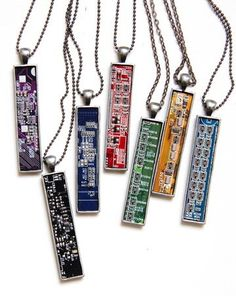 Techie necklace - Circuit board necklace - geekery - recycled computer motherboard by ReComputing on Etsy https://www.etsy.com/listing/178487623/techie-necklace-circuit-board-necklace