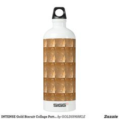 INTENSE Gold Biscuit Collage Pattern Graphic Water Bottle