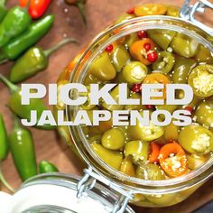 Pickled Jalapenos prepared within 15 minutes at home. Use these preserved peppers in your food. I'm sharing my how to video with flavor ideas and uses. Best Easy Dessert Recipes, Peanut Butter Dessert Recipes, Canning Recipes, Spicy Recipes, Indian Food Recipes, Pickled Jalapeno Recipe, Fresh Jalapeno Recipes, Pickling Jalapenos, Pickling Peppers