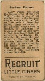 1912 Brown Backgrounds T207 #46 Josh Devore Back