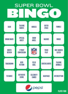 Super Bowl Bingo To Play During The Big Game - 2014
