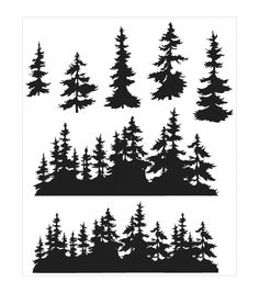 Stampers Anonymous Tim Holtz Tree Line Cling Rubber Stamp Set