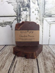 Chocolate Mousse Vegan Soap by Scentapy on Etsy Vegan Soap, Cruelty Free, Mousse, Bath And Body, Make It Yourself, Chocolate, Handmade Gifts, Desserts, Diy