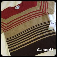 """Alfred Dunner Short Sleeve Sweater Wow...this is one sharp looking sweater. I would pair it with tan dress pants for work. 65% Acrylic 36% Nylon Turn inside out machine wash cold, lay flat to dry. Bust 21 1/2"""" length 25"""". Alfred Dunner Sweaters Crew & Scoop Necks"""
