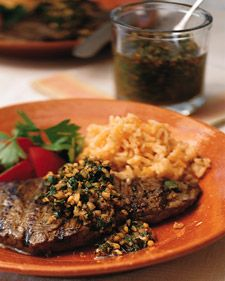 Chimichurri, a thick herb mixture from Argentina, is a garlicky sauce that is tamed by parsley, oregano, and olive oil. Steak Recipes, Grilling Recipes, Paleo Recipes, Paleo Meals, Steak With Chimichurri Sauce, Martha Stewart Recipes, Grilled Beef, Cooking With Olive Oil, The Fresh