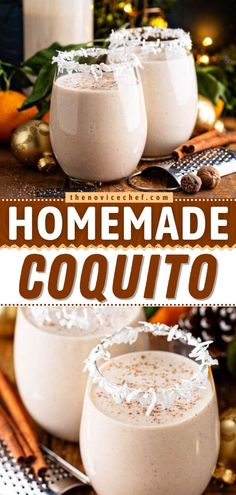 This Puerto Rican Coquito Recipe makes the best holiday drink! This cocktail is so easy to make. Loaded with spices and rum, this extra thick and creamy coconut eggnog won't last long! Save this pin! Best Coquito Recipe, Puerto Rican Coquito Recipe, Easy Cocktails, Cocktail Drinks, Cocktail Recipes, Easy Chocolate Fudge, Easy Drink Recipes, Holiday Drinks, Everyday Food