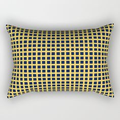 """Our Rectangular Pillow is the ultimate decorative accent to any room. Made from 100% spun polyester poplin fabric, these """"lumbar"""" pillows feature a double-sided print and are finished with a concealed zipper for an ideal contemporary look. Includes faux down insert. Available in small, medium, large and x-large.  @society6 #art #abstract #home #decor #fun #sweet #cool #grid #color #pillow #yellow #blue #couch #accent #accessories #decorate"""