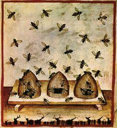 Beekeeping illustration from Taccuino Sanitatis, 1300