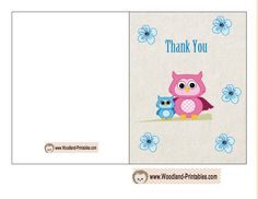 Cute Owl Thank You Card for Boy Baby Shower