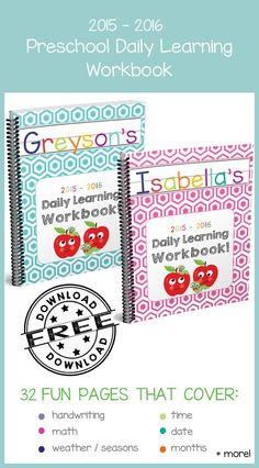 Preschool Daily Learning Workbook 2015-2016 Edition -