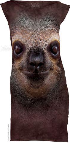 The Mountain Sloth Face T-shirt Mini Dress