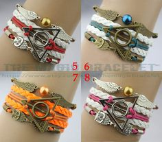 harry potter bracelet, Infinity bracelet, owl wing bracelet, gold bead bracelet,Deathly Hallow bracelet,gift for girl friend,boy friend