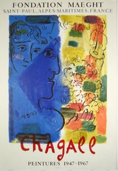 Plakate Marc Chagall Affiche Marc Chagall Poster Marc Chagall title Le Bleue profile  technology Original color lithograph