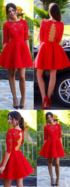 Red Homecoming Dress,Sexy Long sleeve Backless Lace Homecoming Prom Dresses,Sweet 16 Cocktail Dress,Backless Homecoming Dress,Homecoming Dress,SVD556