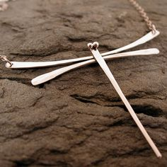 Silver Dragonfly Necklace Boho Jewelry Hand Forged by SARANTOS