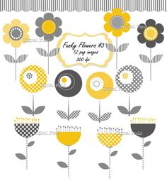 Funky Flowers Clip Art Set No.3 -  yellow gray printable digital clipart -