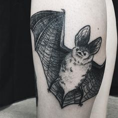 Bat tattoo by Caolin Walch, Germany. #bat #fledermaus #tattoo #blackwork #dotwork #dotworktattoo #themagicsociety #pforzheim #ladytattooers (hier: The Magic Society)