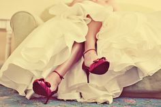 I love the contrast of color between the dress and the shoes! Red is my favorite color!