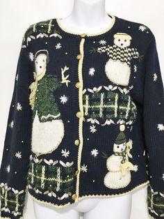 Christopher & Banks Ugly Christmas Sweater Womens S Navy Blue Snowmen Cardigan #ChristopherBanks #Cardigan