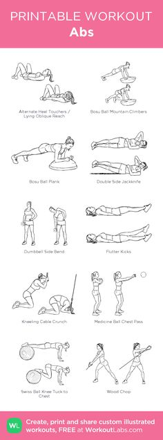 Abs– my custom exercise plan created at WorkoutLabs.com • Click through to download as a printable workout PDF #customworkout