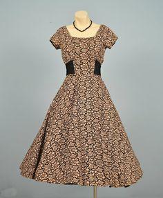 Vintage 1950s Party Dress...MINX MODES Cafe Au Lait and by deomas