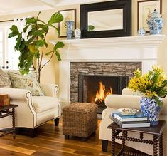 Such a cozy room. love the fireplace surround and the varying textures.
