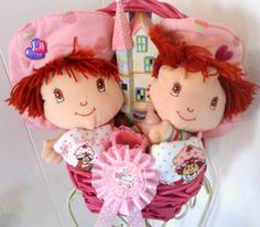 STRAWBERRY SHORTCAKE It's A Girl Baby Shower Gift Basket by cappelloscreations, $45.00@Etsy