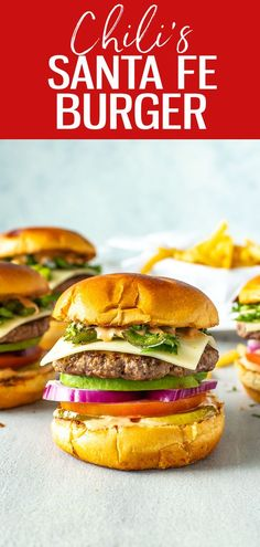 This Chili's Santa Fe Burger is a perfect copycat, stacked with avocado, monterey jack, red onion, jalapeños, tomato, pickles, cilantro Lunch Recipes, Summer Recipes, Crockpot Recipes, Great Recipes, Vegetarian Recipes, Cooking Recipes, Healthy Recipes, Spicy Aioli, Spicy Sauce
