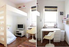 Meer dan 1000 idee n over kleine kamers inrichten op pinterest kleine kamers bed kader opslag - Kinderkamer arrangement ...