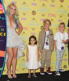 Pin for Later: A Look Back at the Best of the Teen Choice Awards  In 2015, Britney Spears won the Candie's choice style icon award and was accompanied by her adorable sons, Sean and Jayden, and niece Lexie.