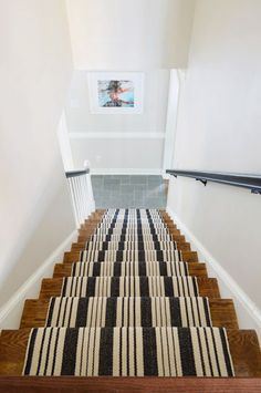 """Stairs & Stripes   Young House Love This is a great idea. You can follow these great instructions and at the same time, if you are trying to """"spruce up"""" to put your home on the market, just adding a runner, even to steps going to a basement could be a really nice touch!"""