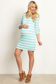 Mint-Green-Striped-3/4-Sleeve-Maternity-Dress