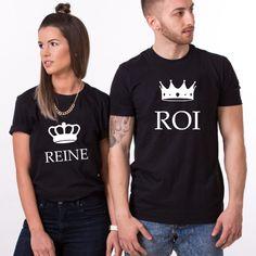 T-shirt couple – Roi & Reine couronne T-shirt Couple, Couple Tshirts, T Shirt, Couples, Mens Tops, Women, Fashion, Couple Clothes, Matching Clothes