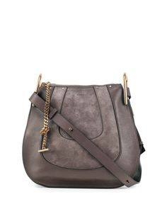 Hayley Small Suede/Leather Hobo Bag, Gray by Chloe at Neiman Marcus.