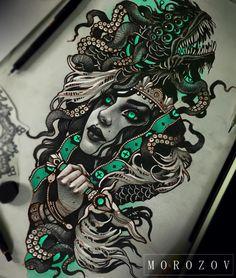"10.2k Likes, 107 Comments - Vitaly Morozov (@mvtattoo) on Instagram: ""#tattoo#tattooart#art#tattooflash#flash#tattoodesign#sketch#drawing#portrait#face-#girl#femaleportrait#fantasy#fantasyart#sacrifice#ritual#dagger#mv#morozov#mvtattoo#тату#татуировка#эскизытатуировок#эскиз#морозов"""