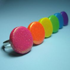 Made from polymer clay and tons of glitter, these rings are lightweight and comfy without skimping on color.