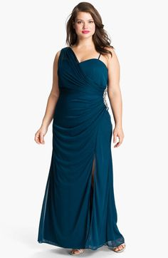 Xscape Jeweled Draped Mesh Gown (Plus) available at #Nordstrom