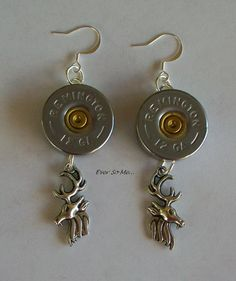 Silver Tone Shotgun Shell Earrings with Buck Charms by EverSoMe, $9.99