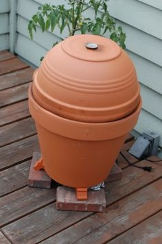 "The Alton Brown Flower Pot Smoker- DIY terracotta ""egg"" smoker"
