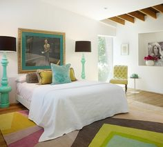 Costa Mesa, California – based interior designers from Pal + Smith recently finished this amazing eclectic house interior. Pal + Smith Creative Director Me Modern Bedroom Design, Contemporary Bedroom, Bedroom Designs, Modern Contemporary, Bedroom Orange, Funky Bedroom, Bedroom Turquoise, White Bedroom, Bedroom Colors