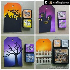 We love these spooky Halloween Distress Ink blends! Encre Distress Ink, Distress Oxide Ink, Druckfarben Im Distress-look, Distress Ink Techniques, Embossing Techniques, Distress Markers, Atc Cards, Easel Cards, Halloween Tags