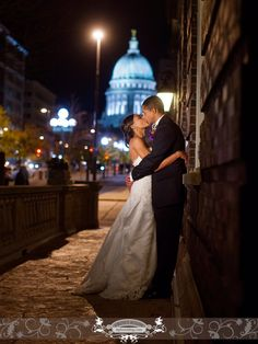 Night time beauty with the newly weds. Wisconsin Captial building in the background. Photo by: FRP