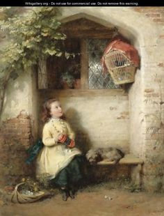 The Serenade, oil on canvas by George Bernard O'Neill, prolific Irish genre painter, 1828-1917. O'Neill moved to England where he became a member of the Cranbrook Colony of Artists.