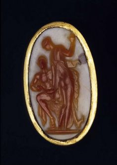 Gold ring with Cameo: Satyr and Nymph  - 1st century BC. Found in Petescia (modern Turania), north of Rome, in 1875.