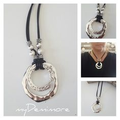 endless Ring, Spiral, pearls, leather necklace by myDemimore on Etsy