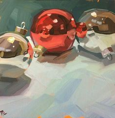 "Daily Paintworks - ""Ornament Sandwhich"" - Original Fine Art for Sale - © Teddi Parker Painting Still Life, Still Life Art, Christmas Paintings, Christmas Art, A Level Art, Impressionist Art, Art For Art Sake, Landscape Art, Painting Inspiration"