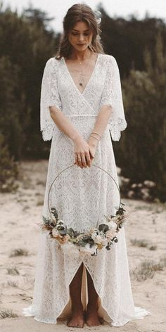 lace wedding dresses with sleeves boho v neckline light and lace couture robe dresses dresses beach dresses boho dresses lace dresses princess dresses vintage Western Wedding Dresses, Luxury Wedding Dress, Bohemian Wedding Dresses, Wedding Party Dresses, Designer Wedding Dresses, Boho Dress, Bridal Dresses, Party Wedding, Off Shoulder Wedding Dress Bohemian