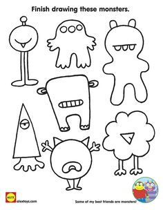 Finish drawing these monsters! Free #Printable coloring sheet for kids for #Halloween | alextoys.com